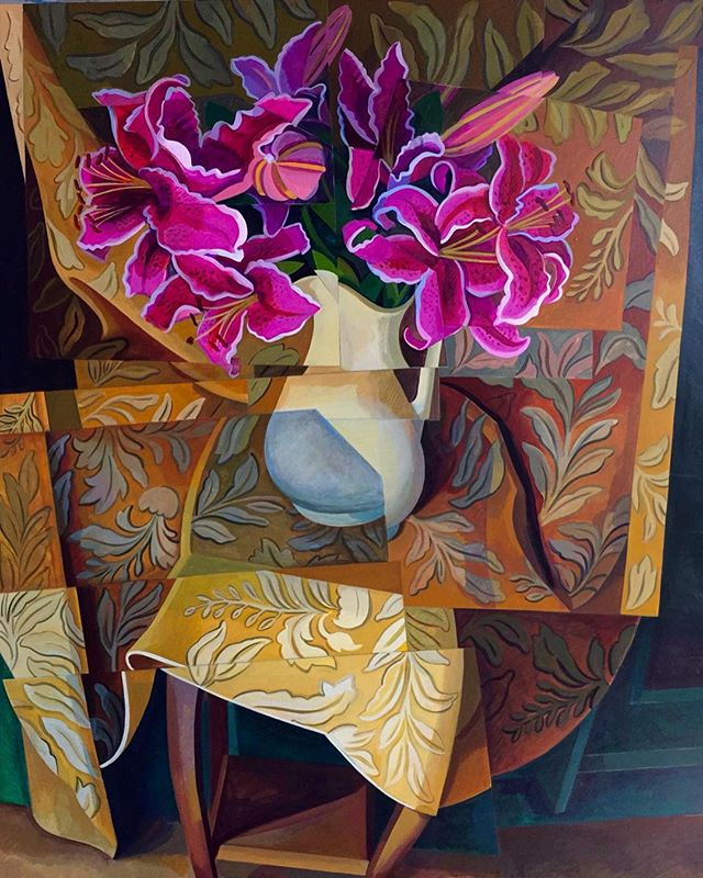 "A captivating first look at Joan Steinman's new work for her upcoming exhibition, New Paintings. The show opens Thursday, February 7, with a reception from 6-8pm. ""Valentine Flowers II"", Joan Steinman, 48"" x 36"""