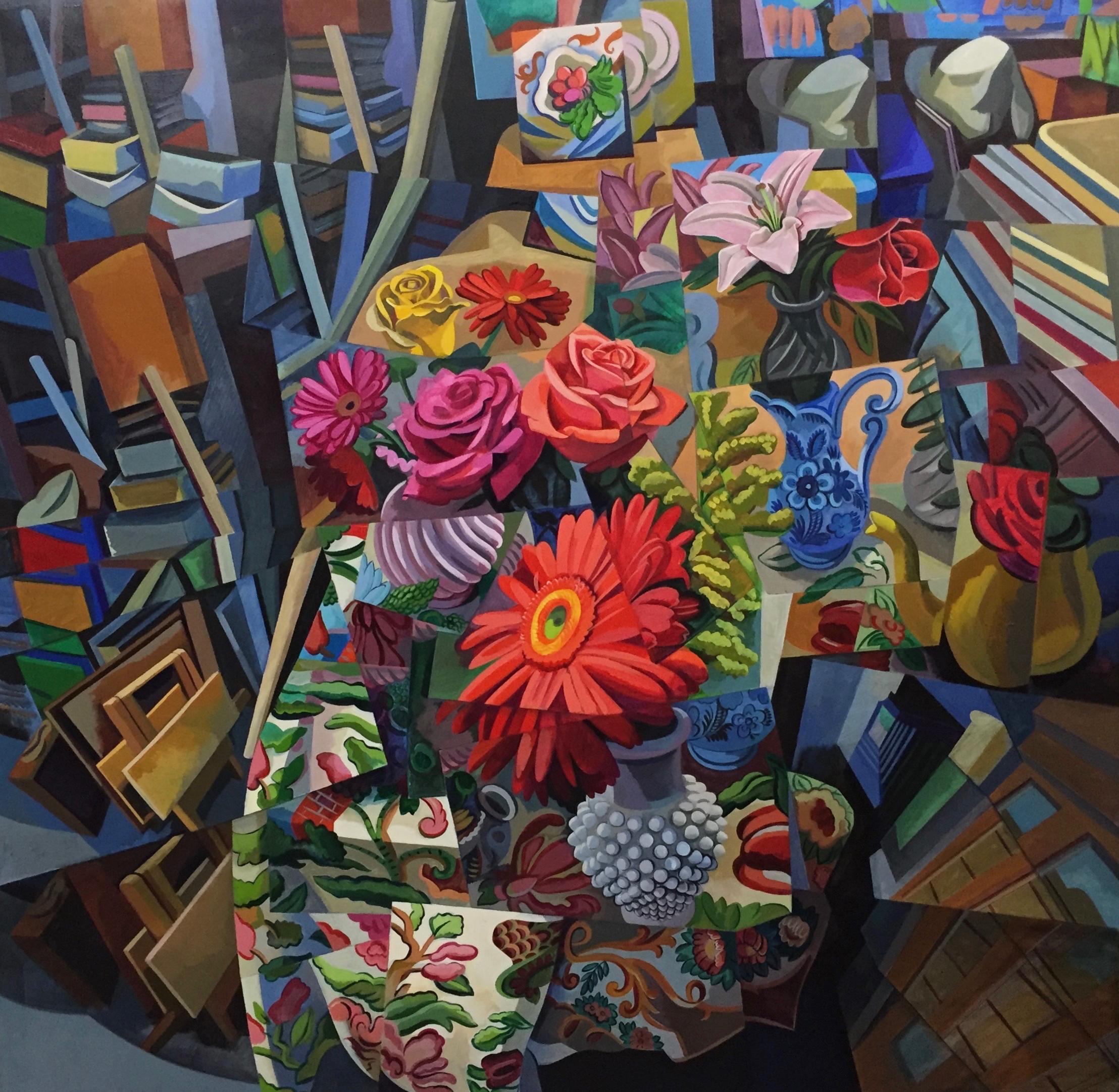 """S.L. In Studio  Joan Steinman ST Acrylic on Canvas 48"""" x 48"""""""