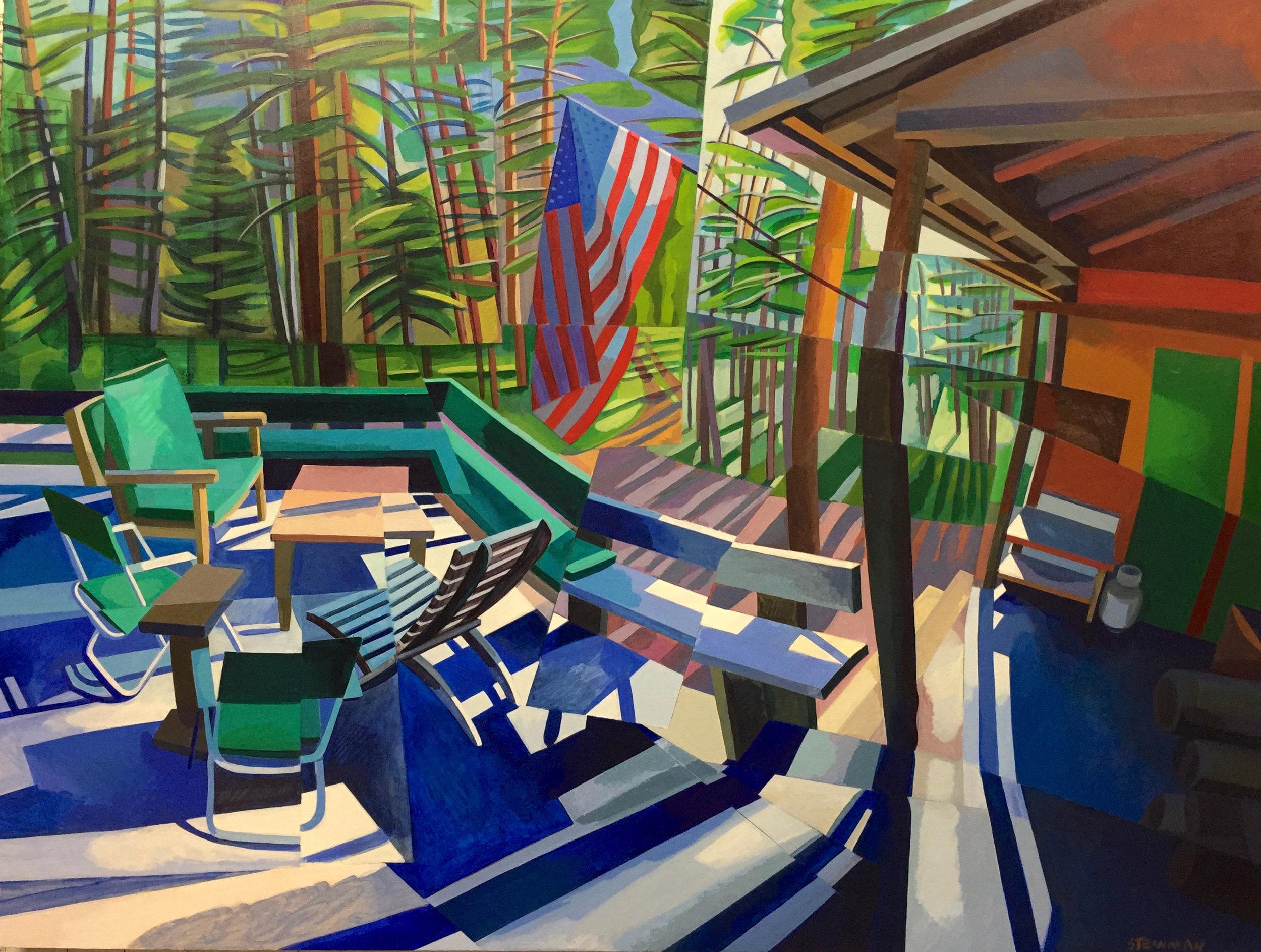 "July 4th  Joan Steinman ST Acrylic on Canvas 32"" x 42"""