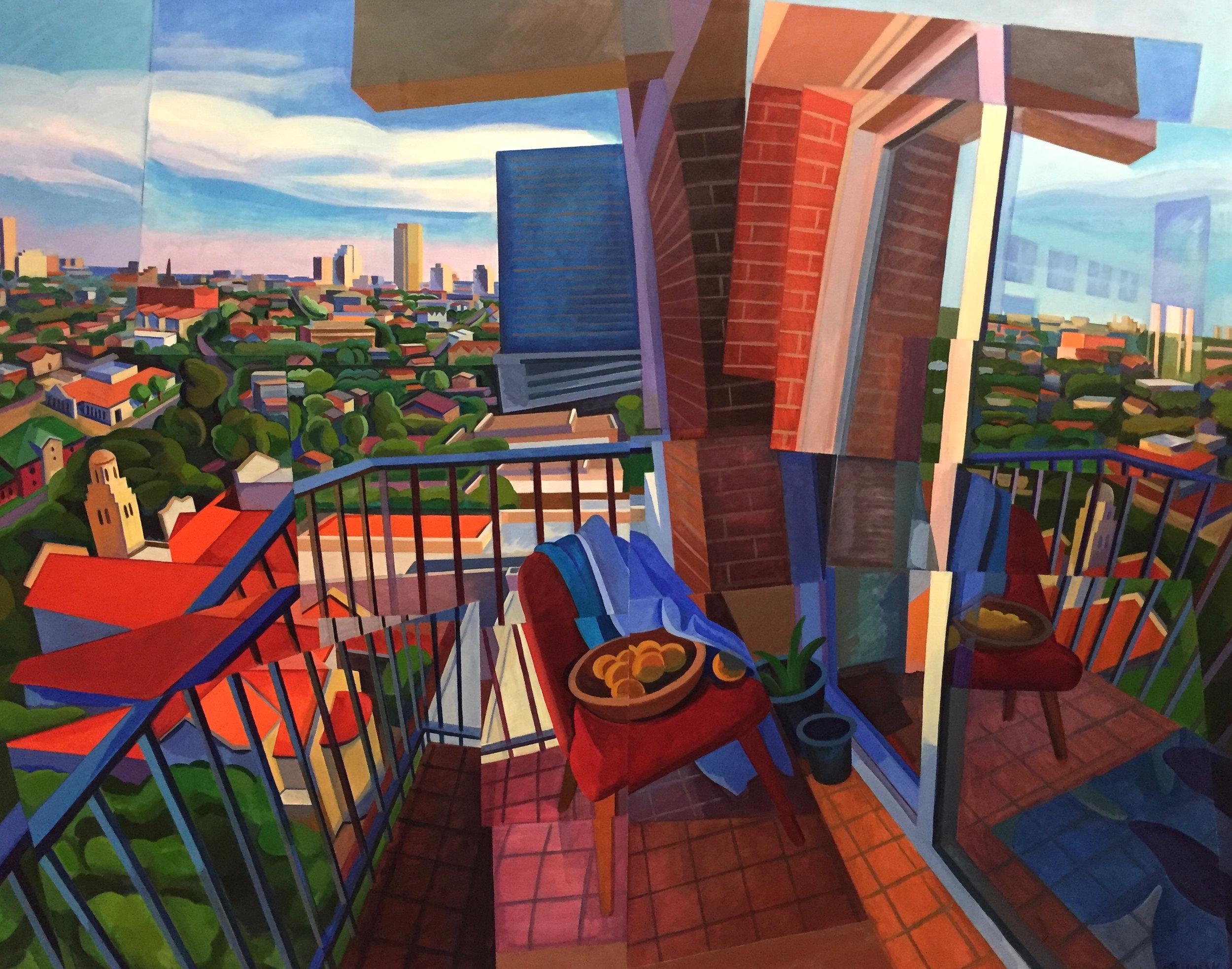 "Balcony I  Joan Steinman ST Acrylic on Canvas 48"" x 60"""