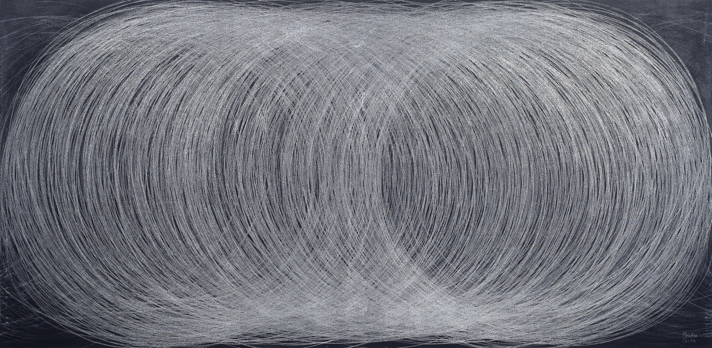 "Conversations with Giotto  Leslie Parke LP Silver Pencil, Chalk, Chalkboard Paint on Canvas 46"" x 94"""
