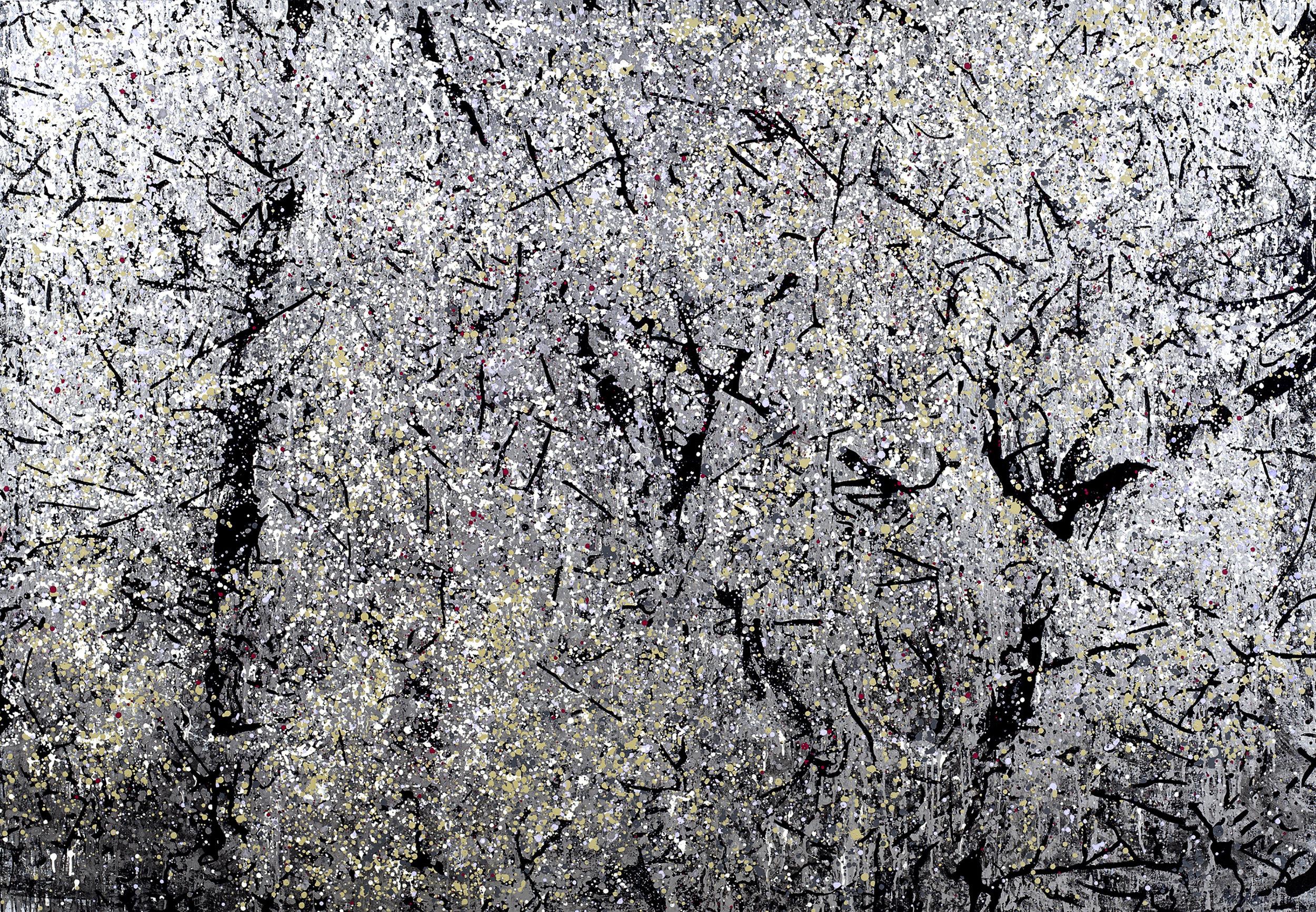 "Tree in Twilight  Leslie Parke LP Oil, Enamel, Metal Paint on Canvas 67"" x 96"""