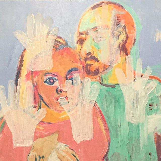 Holding the mask on my face. 48x30 inches  Details  Acrylic on canvas  #shahryarshahamat