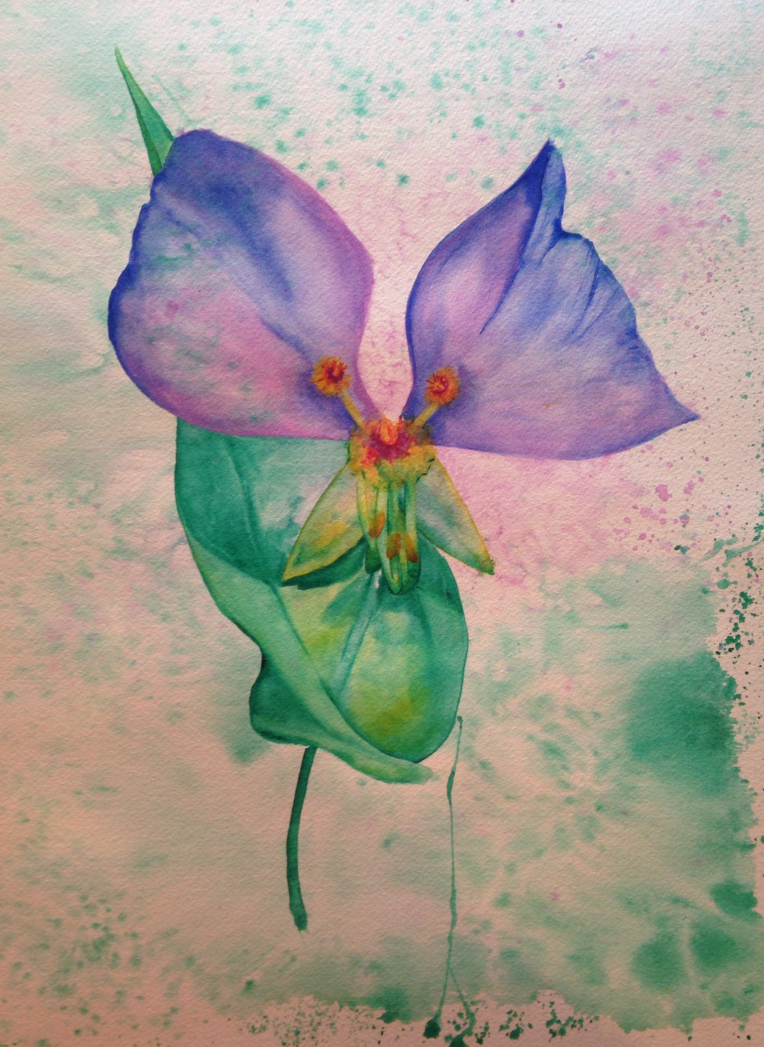 """My Friend, the Flower  salt scrubbed water color on cold press paper  12"""" x 16""""  $500"""