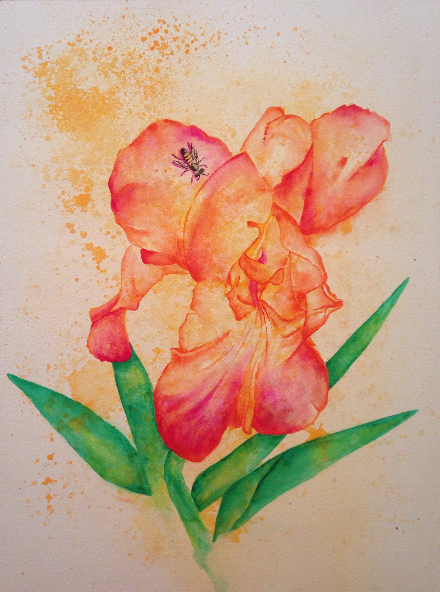 """Altruism in Nature  salt scrubbed water color on cold press paper  12"""" x 16""""  $500"""