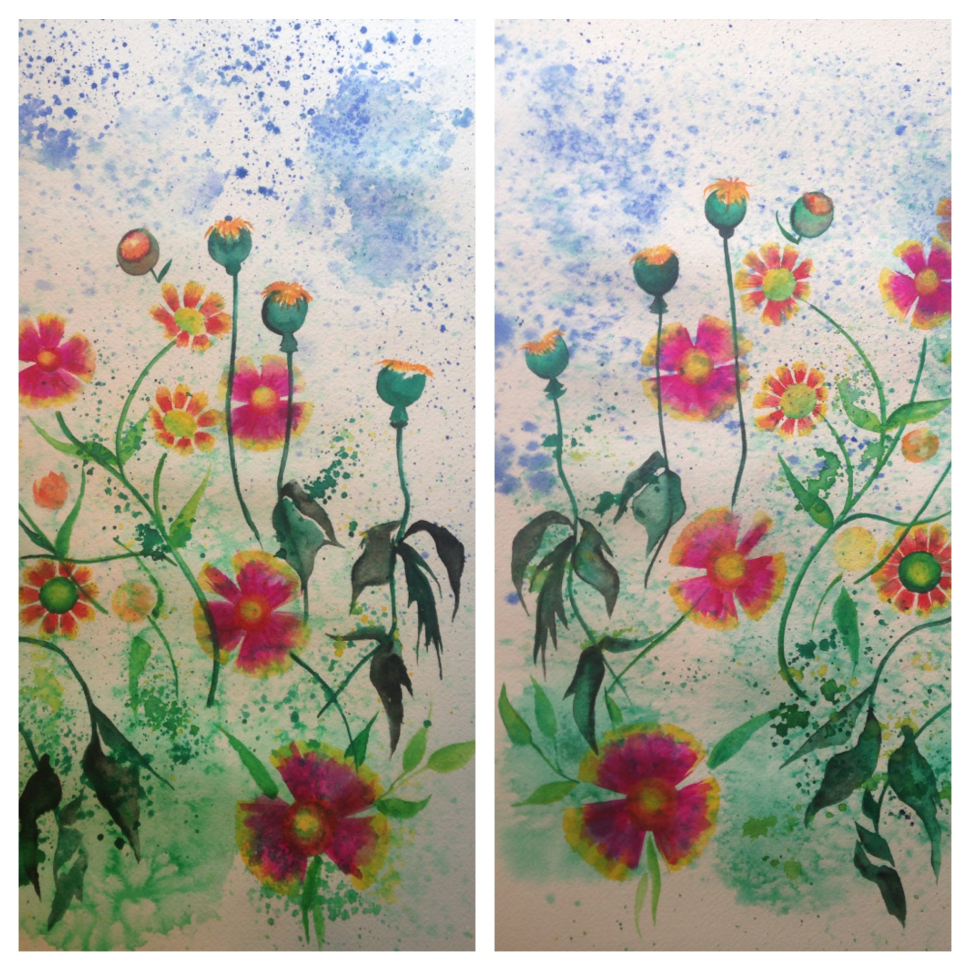 """Garden Party (diptych)  salt scrubbed water color on cold press paper  2 panels (12"""" x 16"""" each)  $900"""