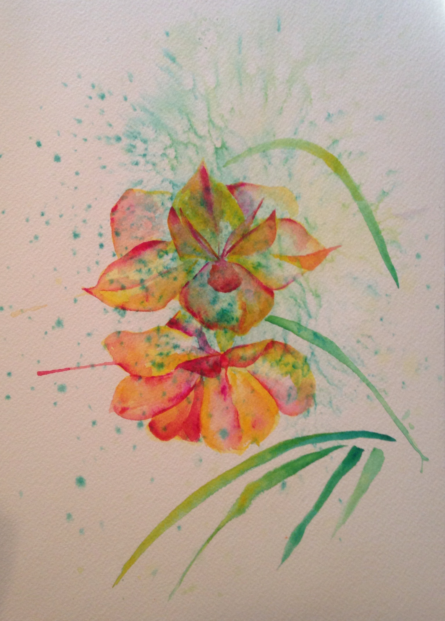 """Cinnamon Path's Blossoms  salt scrubbed water color on cold press paper  8"""" x 10""""  $275"""