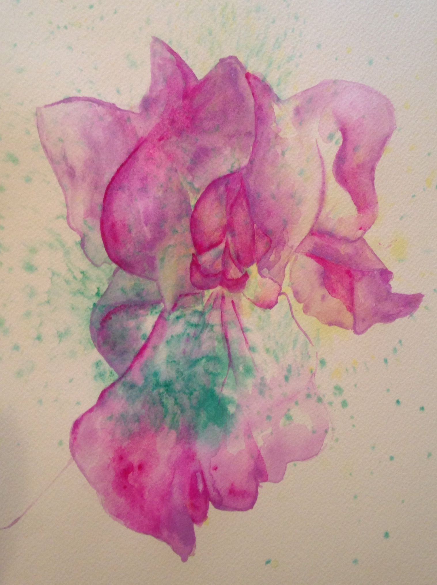 """Southview's Iris  salt scrubbed water color on cold press paper  8"""" x 10""""  $275"""