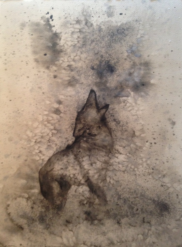 """Howling at the Moon  12"""" x 16""""  salt scrubbed watercolor on paper"""