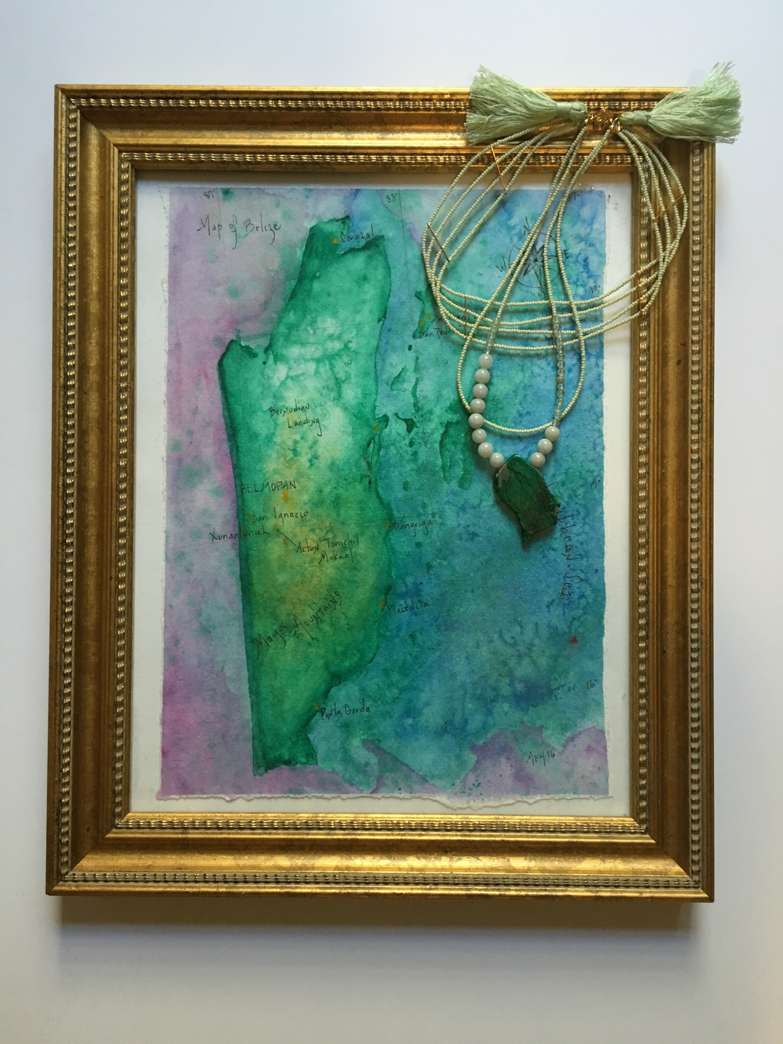 "Map of Belize  Salt Scrubbed Watercolor on Saltscrubbed Paper  9 1/2 "" x 13""  $400"