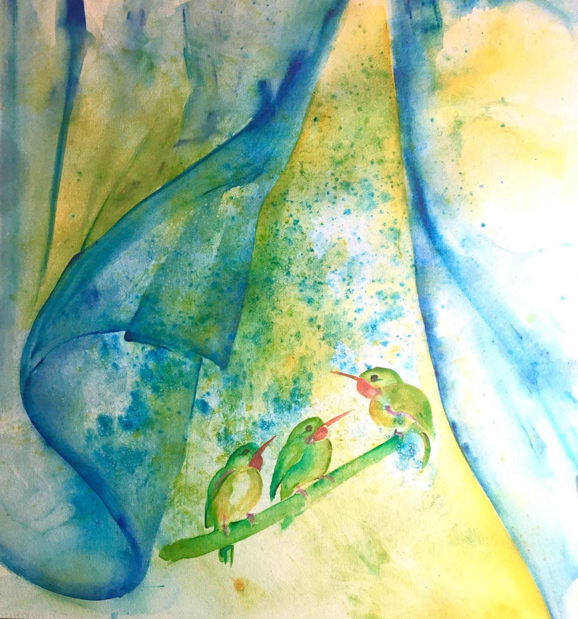 Three Little Birds  Saltscrubbed Watercolor