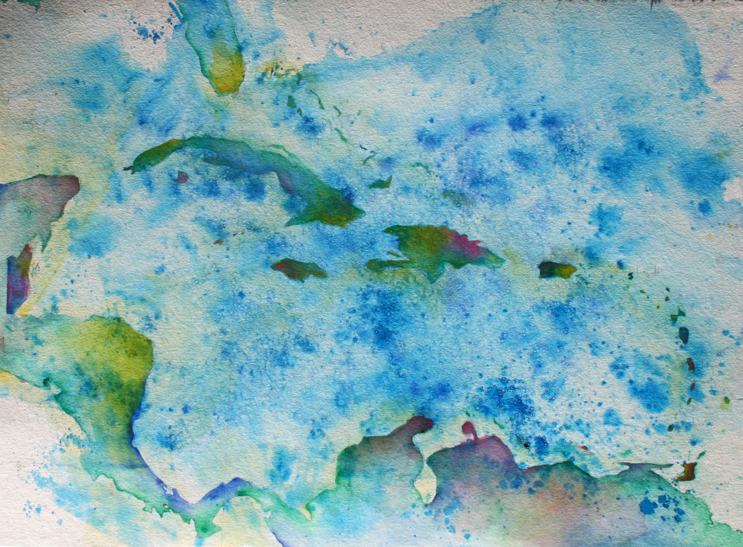The Vibrant Caribbean - If I cannot be somewhere physically, then I'll write about it and illustrate it and breathe it in and meditate on it until I find myself there... this new saltscrubbed water color illustrates the vibrant energy of the Caribbean Sea and its surrounding islands. If you look at it long enough, you can start to feel the warm, trade wind breeze blowing through your hair, smell the salty scents from the easterly wind, and hear the sounds of the waves as they slowly tumble upon one another.