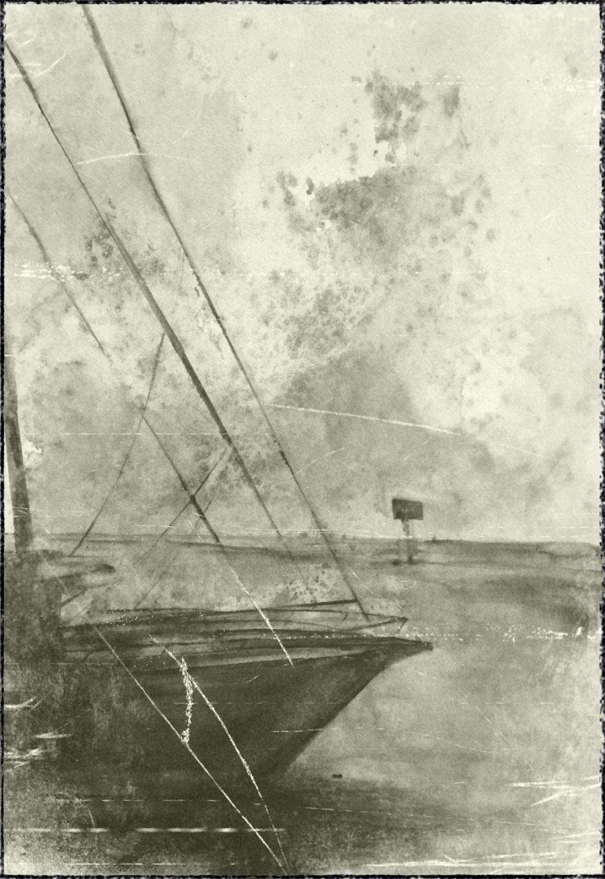 Sketch from Laguna Bob's on South Padre Island: Bermuda Rigged Sloop