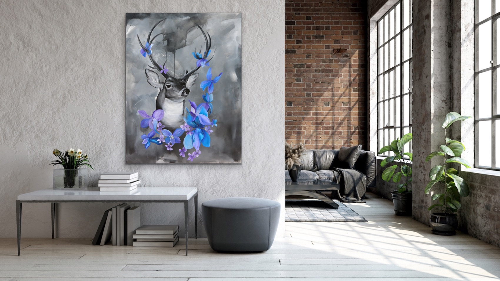Six Point Buck with Wildflowers staged.JPG
