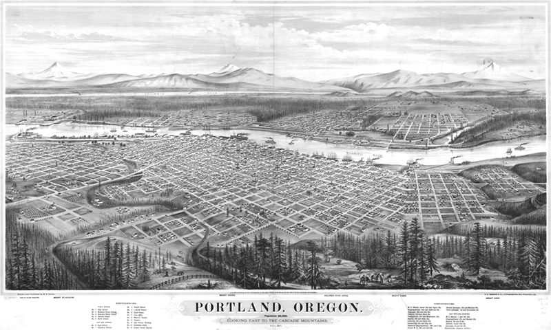A view of Portland in 1879, before there were any bridges! ( Via )