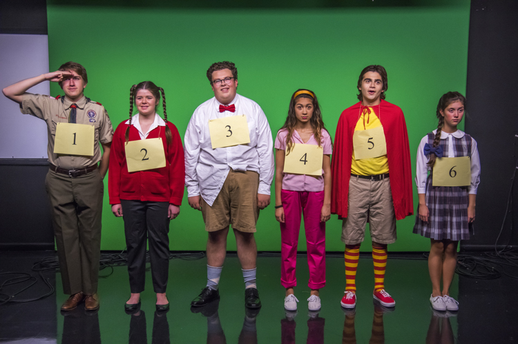 The PPP cast of  The 25th Annual Putnam County Spelling Bee  poses for a publicity photo. Pictured, from left, are Ben Taylor, Kaylynn Coulter, Maclean Mayers, Raneem Imam, Daniel Jaramillo and Hayley Bardos.