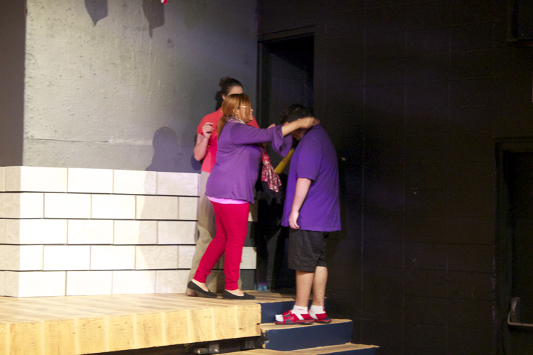 Gabriel Portillo and every other audience volunteer will be welcomed onstage by the Putnam County PTA moms, played by (front to back) Jasmine Saulsberry and Jackie Kamin.