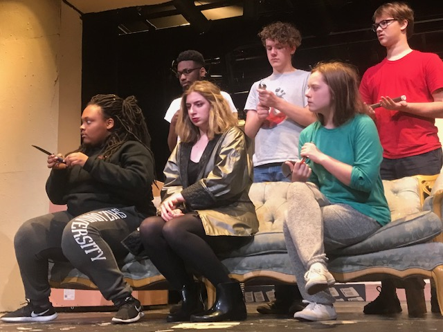 The iconic board game characters (CJ Jamerson, Andrew Heady, Hayden Belue, Mackenzie Kuykendoll, Rachel Christopherson, Kaitlyn Poindexter) of  Clue  come to life as they receive their infamous murder weapons for the first time.