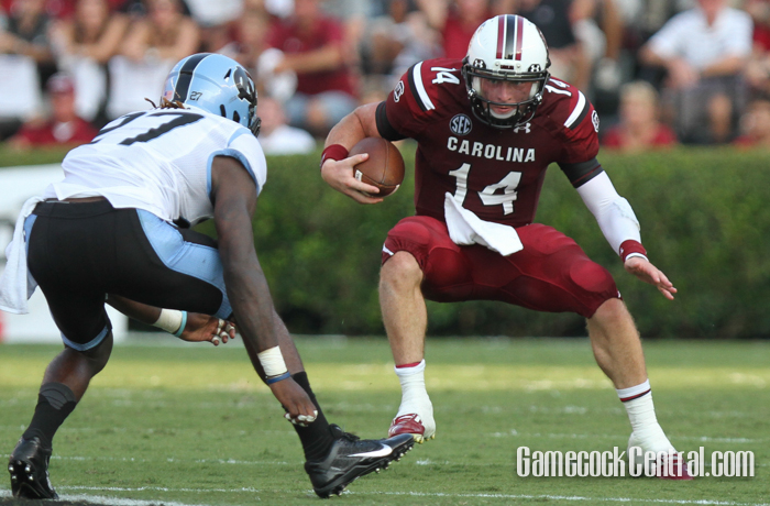Shaw rushed 12 times for 43 yards, and passed for 149 more and a touchdown to help the Gamecocks to their first win.