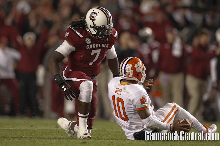 Staff Photo by Chris Gillespie: Jadeveon Clowney ended his career undefeated against the Tigers.
