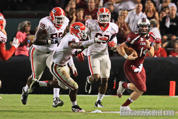 Staff Photo by Paul Collins: Connor Shaw accounted for 240 yards and three touchdowns against the Bulldogs.