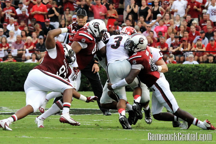 Staff Photo by Paul Collins: South Carolina's defense was one of the few that were able to slow down Todd Gurley.