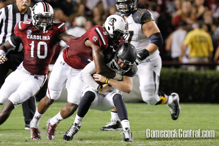 Staff Photo by C.J. Driggers: Darius English had one of South Carolina's two sacks against Missouri.