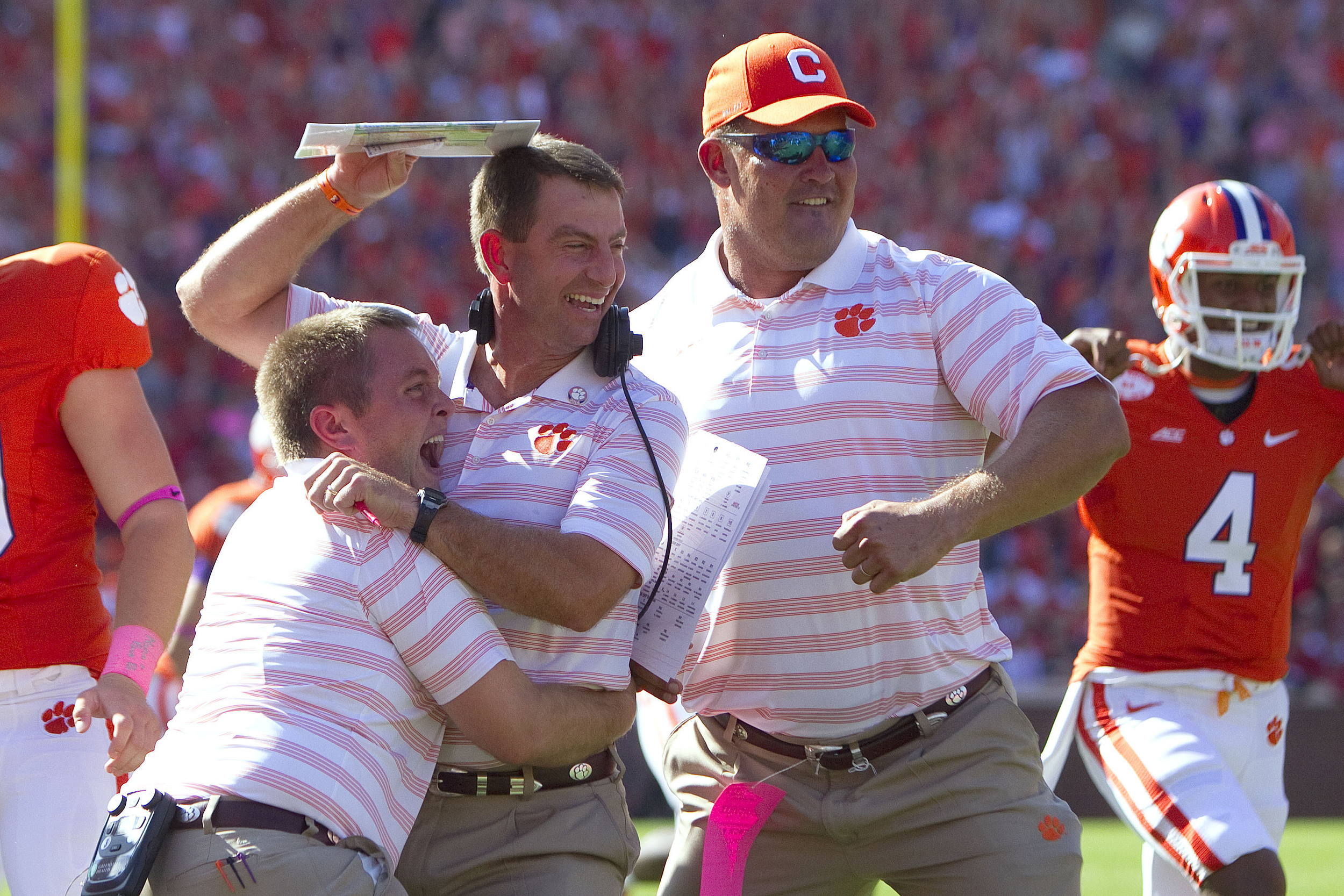 Has there ever been anyone more excited to hug Dabo Swinney? The answer is no. Even Dabo doesn't know how to react!