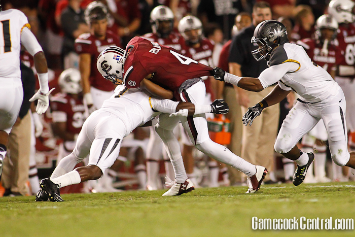 Staff Photo by Chris Gillespie: Roland had just one catch for four yards against Missouri.