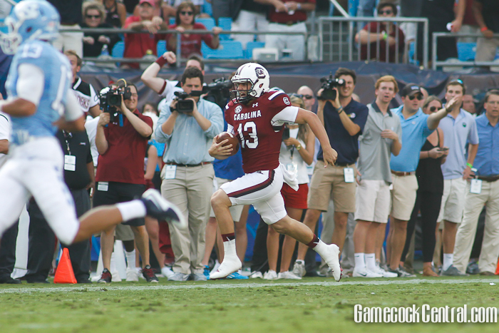 Sean Kelly runs for a first down on a fake punt versus UNC. (Photo: Chris Gillespie)