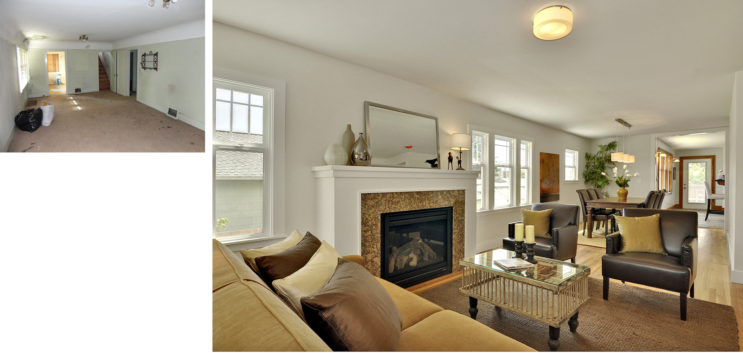 Living Room to Dining Room & Kitchen