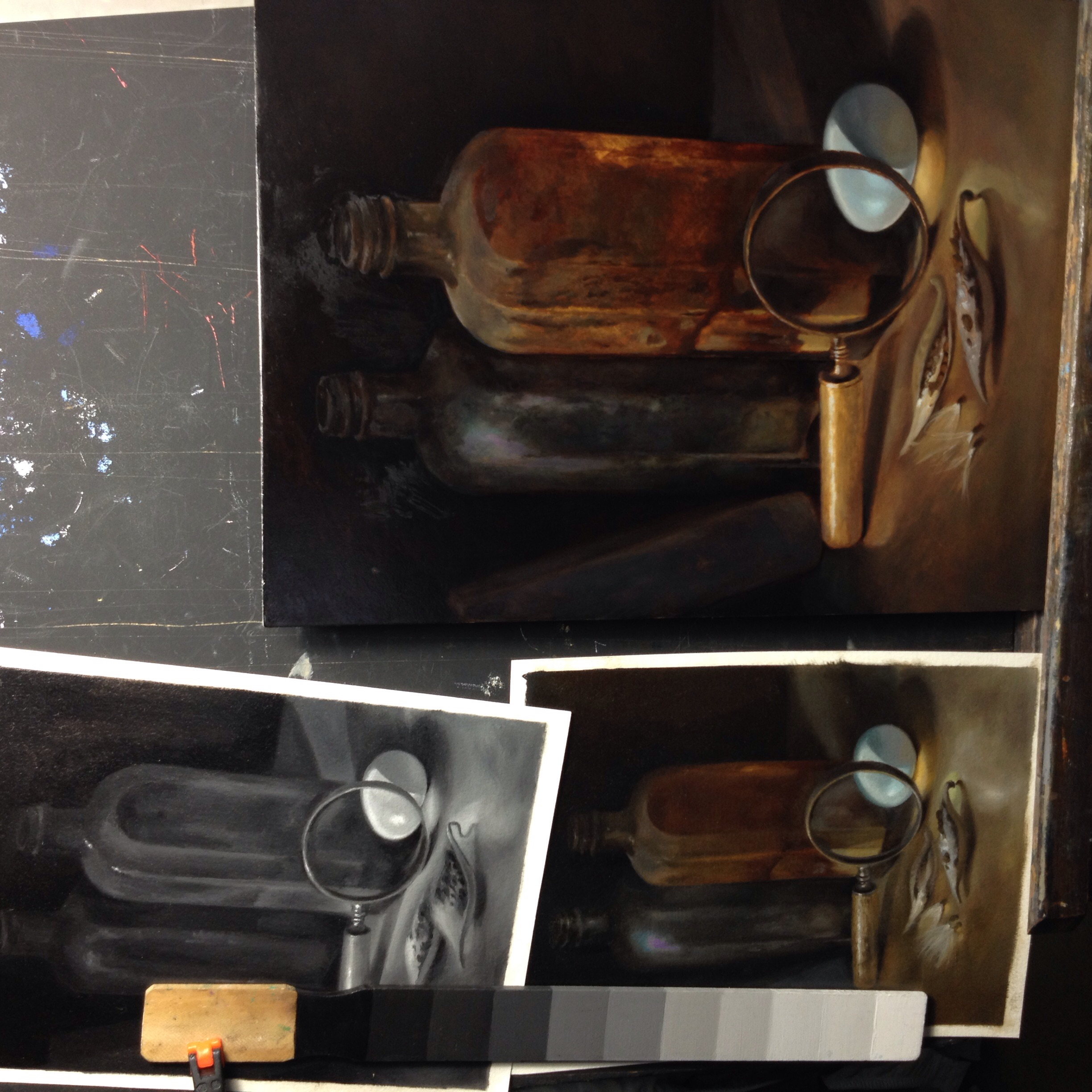 """Value and color studies (left) for a 12"""" x 9"""" oil painting on panel in progress (right)"""