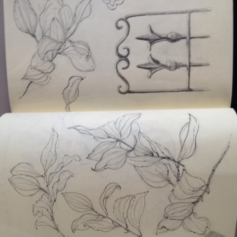 Leaf andtrellis sketches