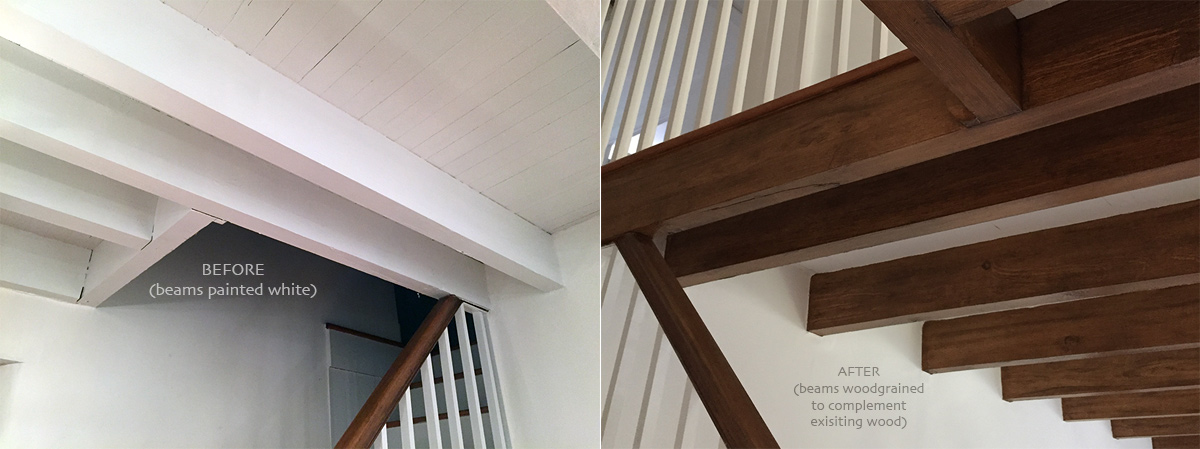 Old beams originally painted white, wood grained to complement existing wood features.Woodgrained Beams