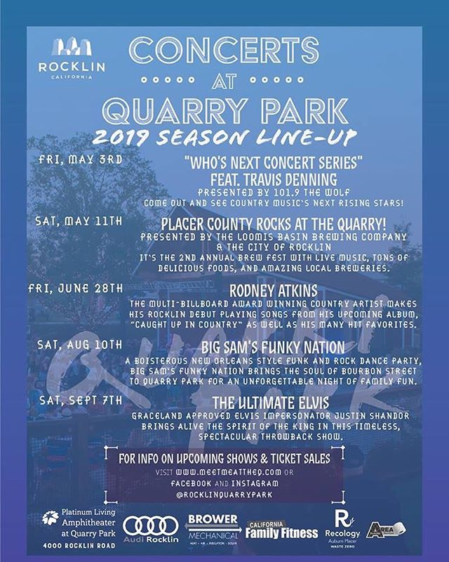 While we are off air for the summer here are some fun concerts happening down the street from Sierra College ! #summerconcerts #quarrypark