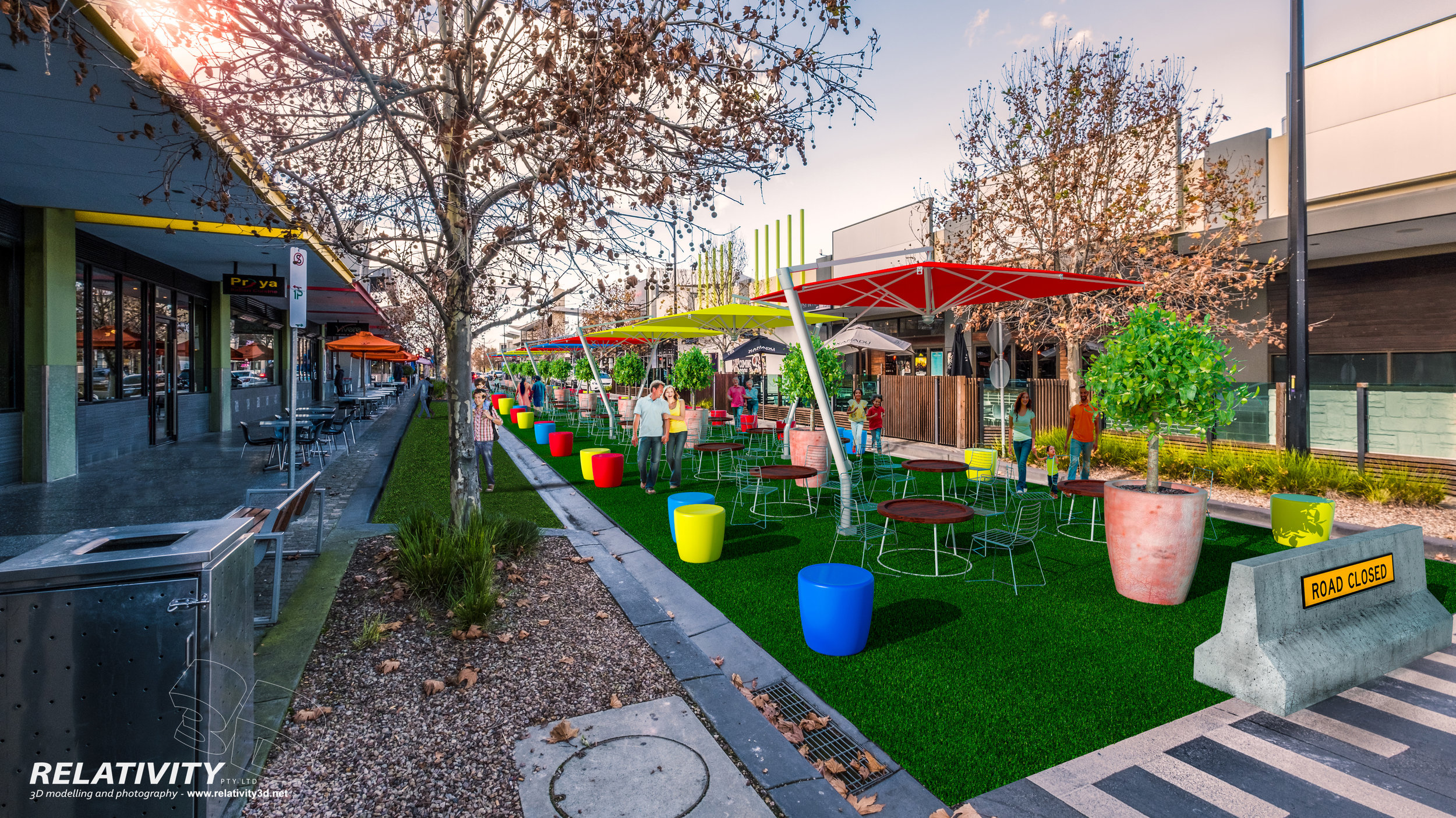 Artist visualisation of pop-up park in Point Cook