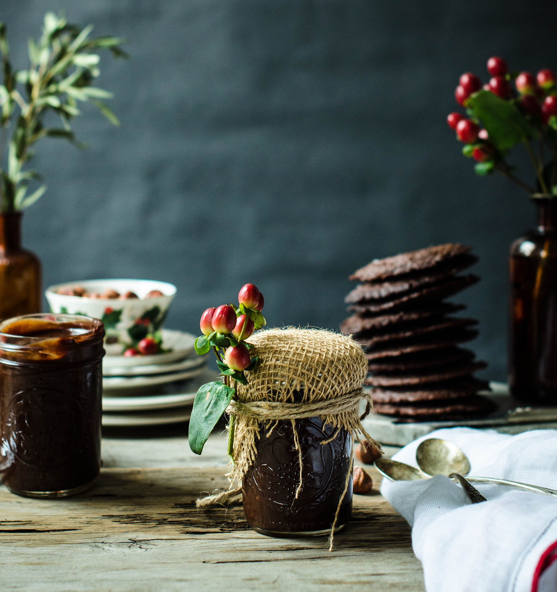 Make it giftable by wrapping a jar in burlap and twine and accenting it with winter berries.