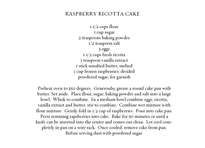 ROSE & IVY JOURNAL RASPBERRY RICOTTA CAKE