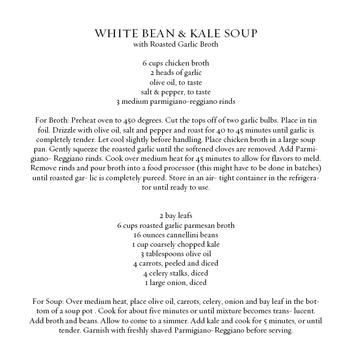 ROSE & IVY JOURNAL WHITE BEAN AND KALE SOUP