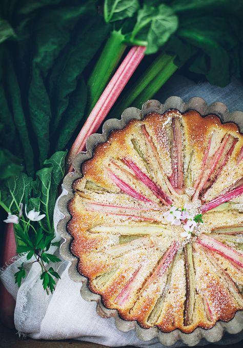 Easy Rhubarb Cake  via Call Me Cupcake
