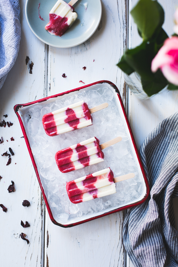 Hibiscus, Rhubarb & Yogurt Pops  via The Bojon Gourmet