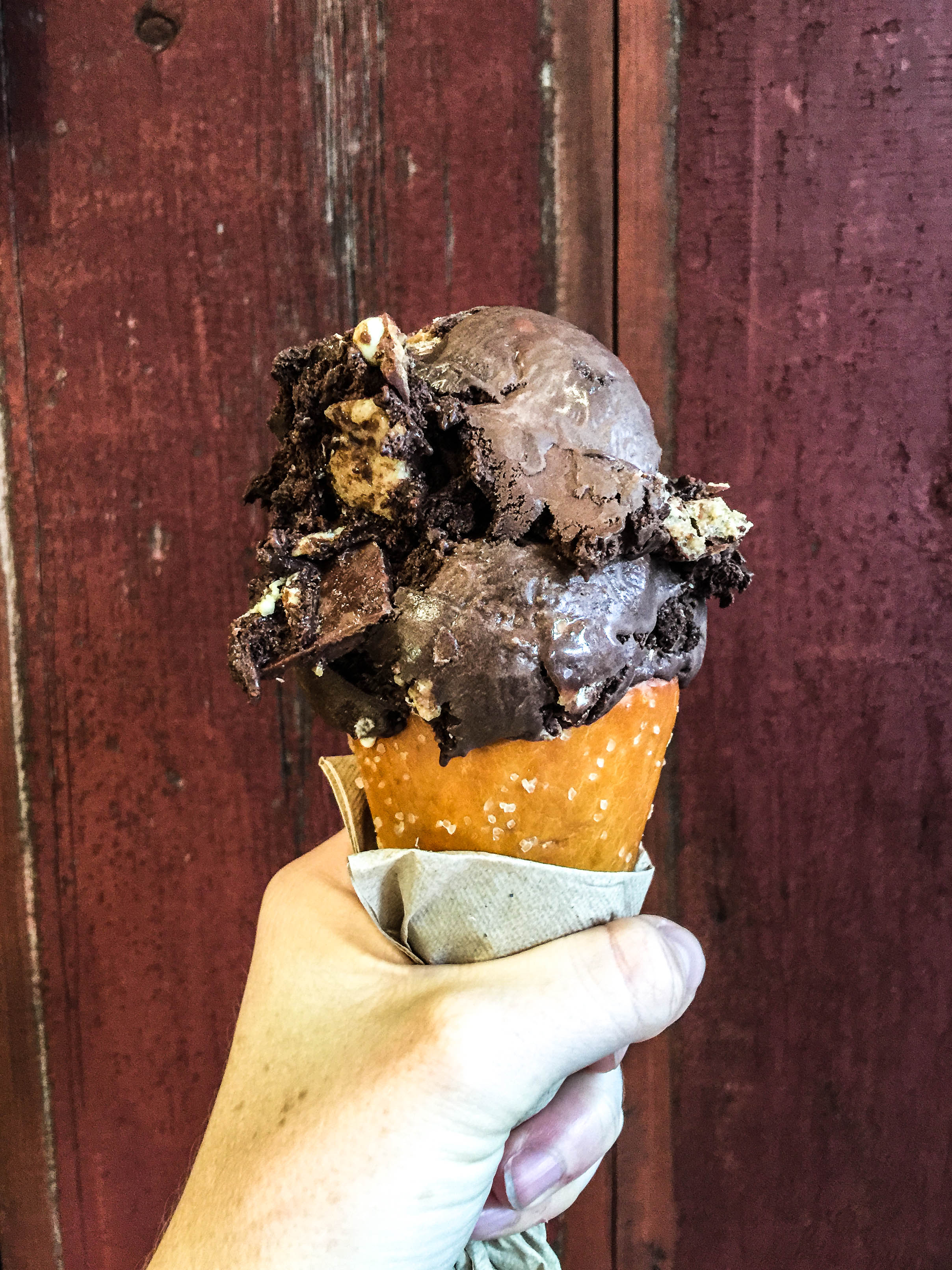 It Came from Gowanus |  Salty Dark Chocolate Ice Cream with Hazelnut Crack Cookies topped with White Chocolate Pearls and Orange Scented Brownies,   heaven