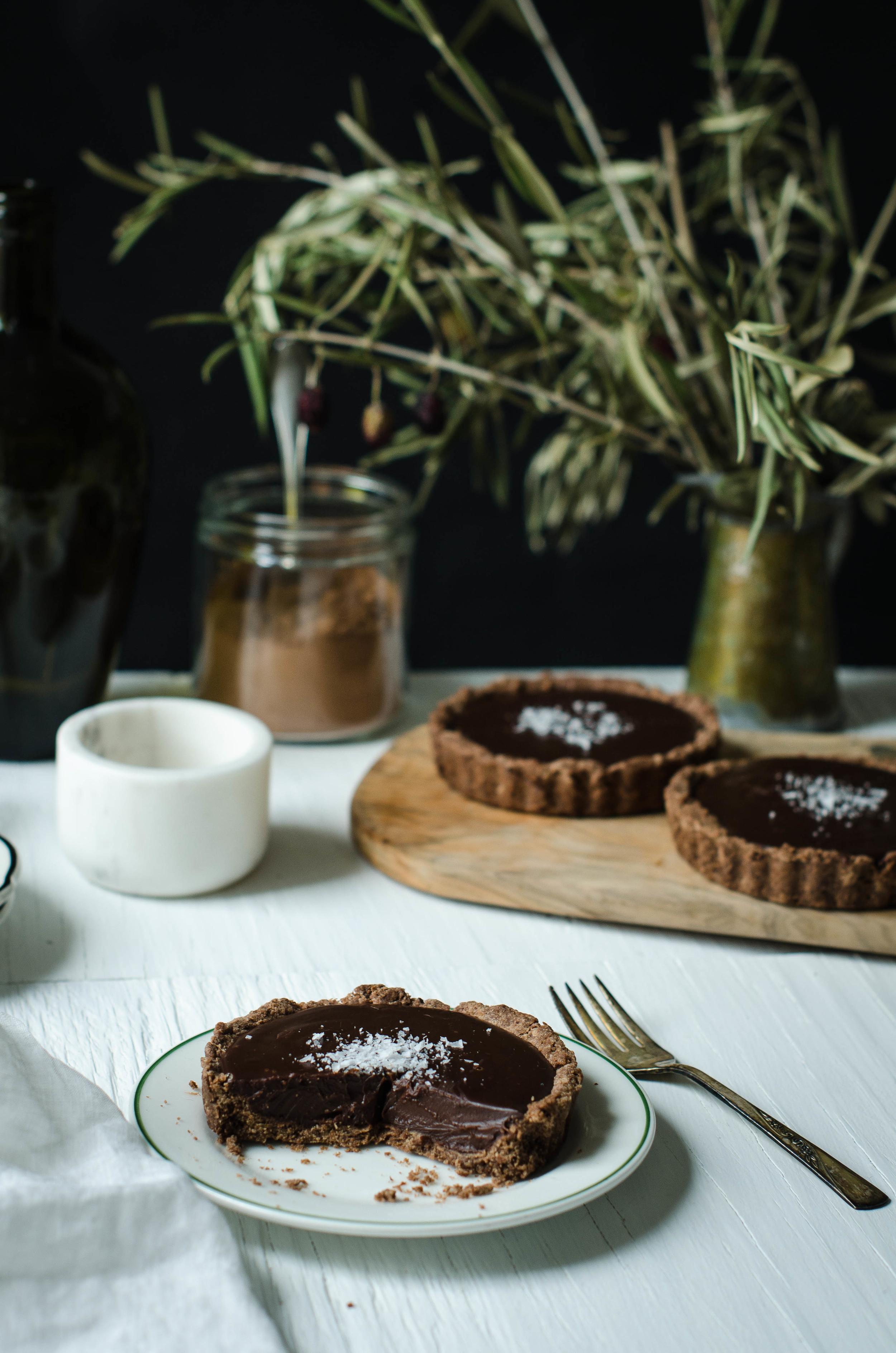 Chocolate Ganache Tart with Chocolate Olive Oil Crust