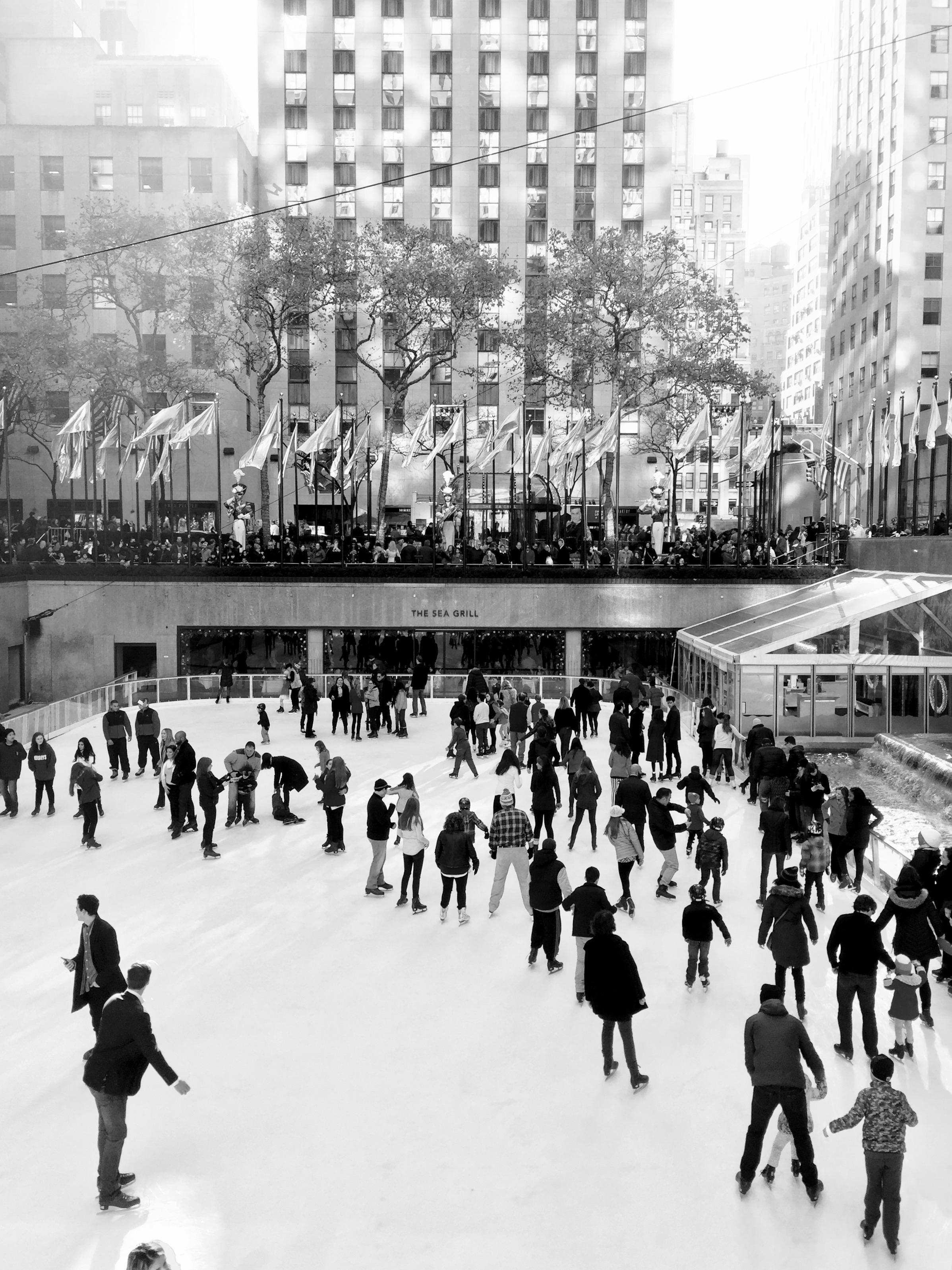 A classic winter scene in New York, skating in Rockefeller Center