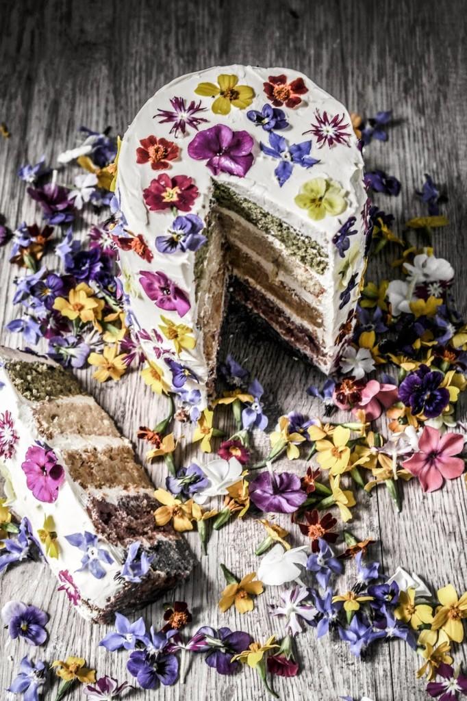 Natural Dyed Rainbow Cake via  Twigg Studio