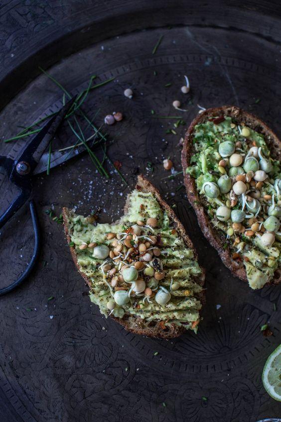 Avocado Toasts with Sprouts via  xoamys
