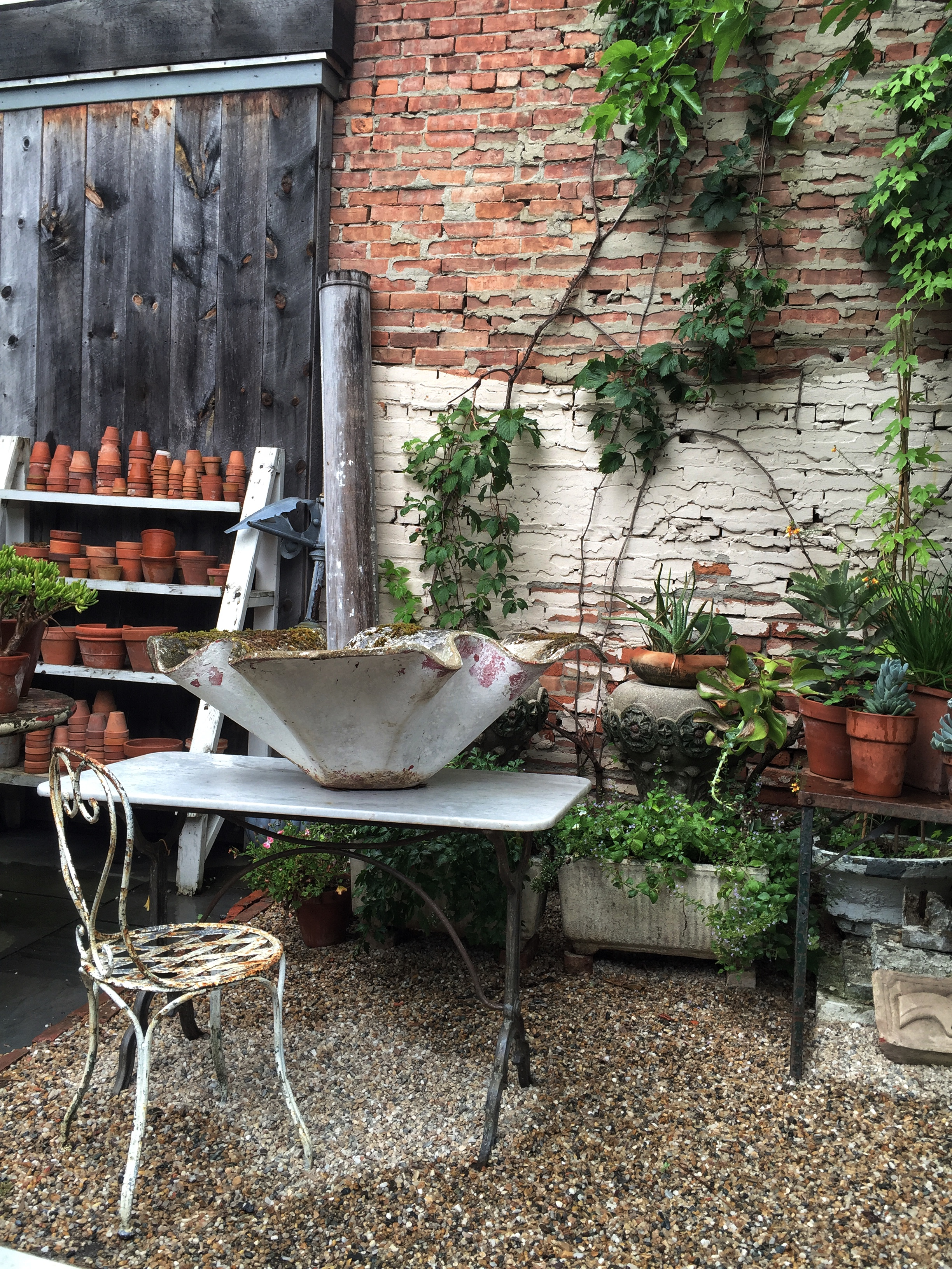 Just like in Provence, the courtyard at Red Chair Antiques