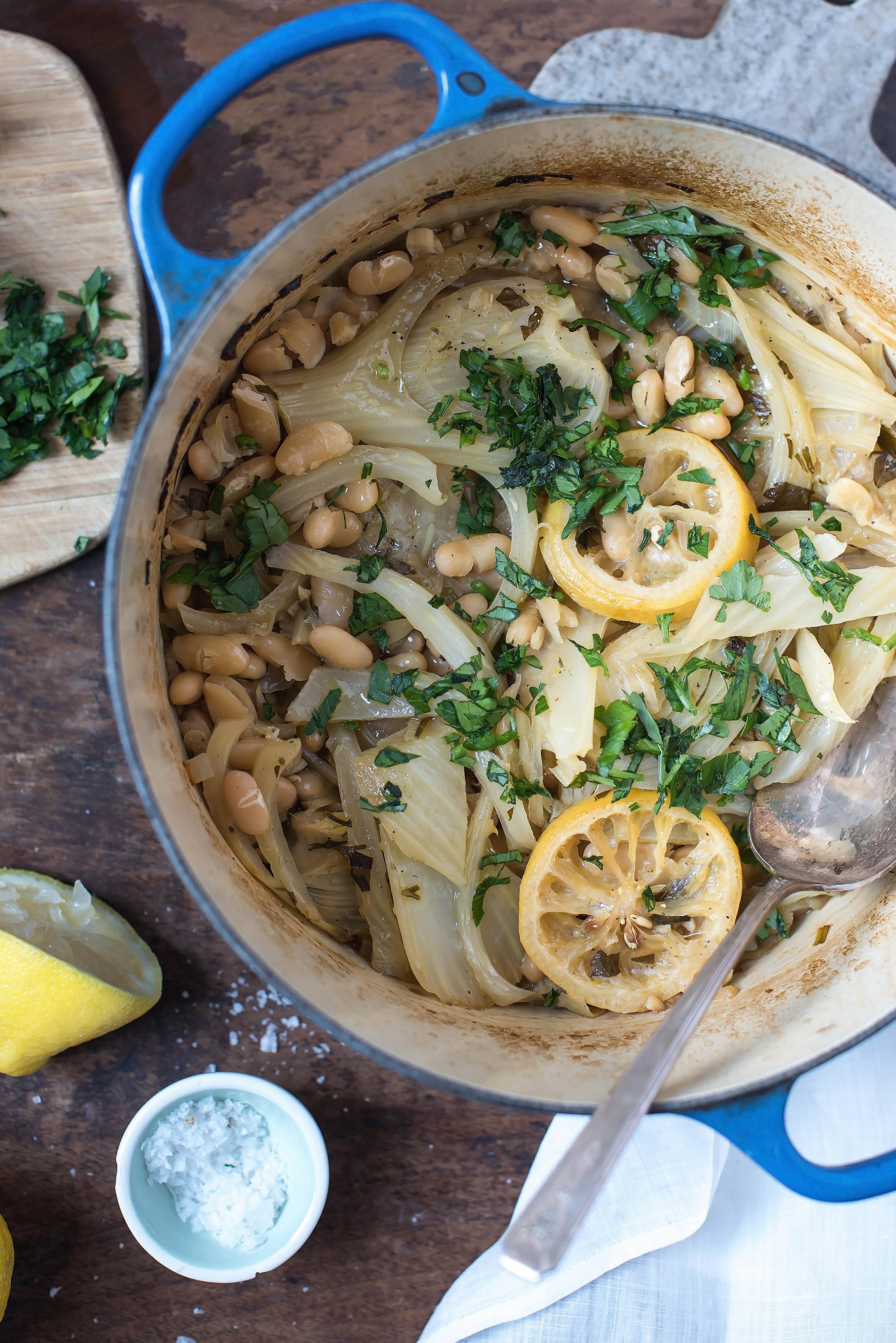 ROSE & IVY Journal Braised Fennel, White Beans & Lemon