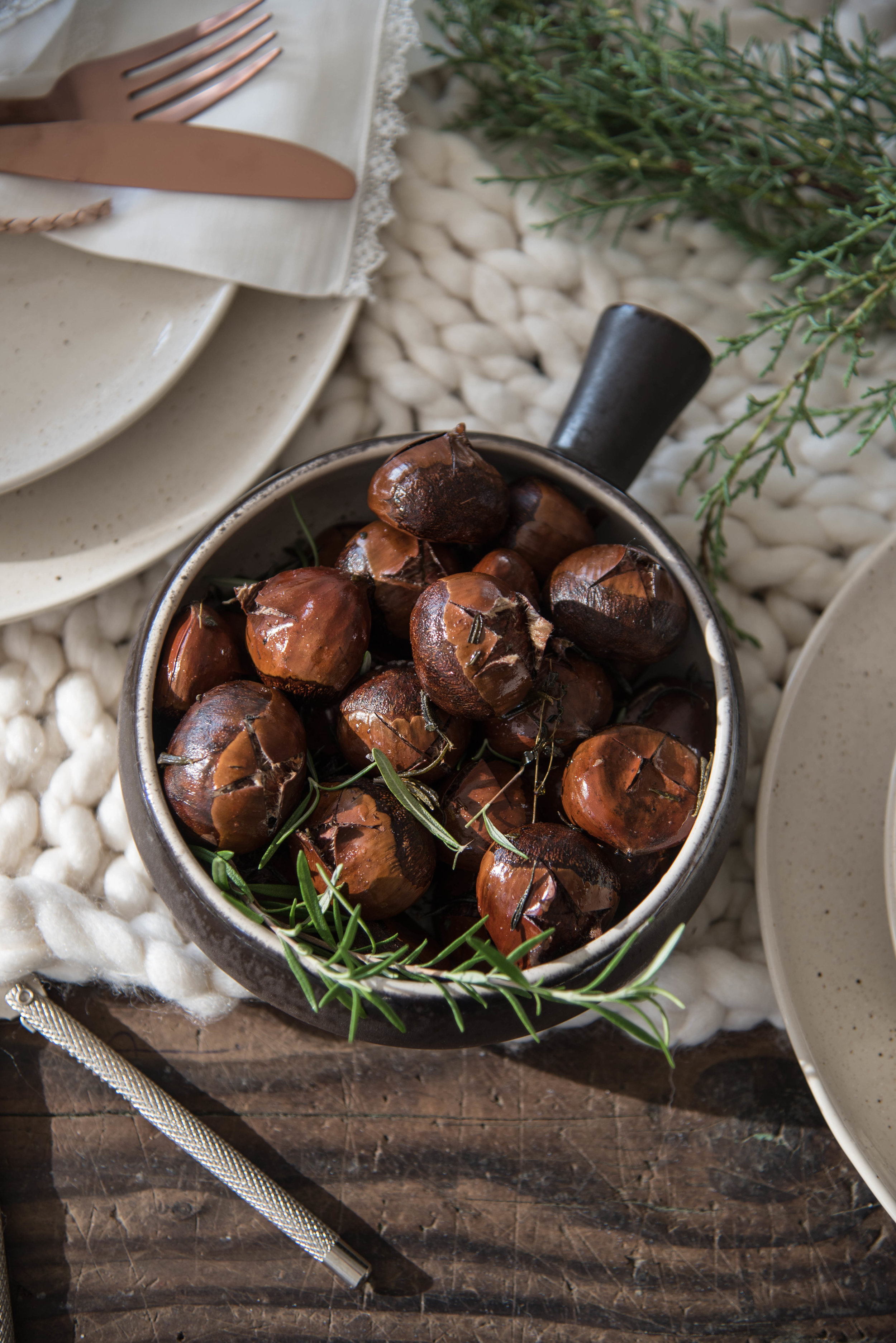 ROSE & IVY Journal Celebrate the Season Roasted Chestnuts with Rosemary & Thyme