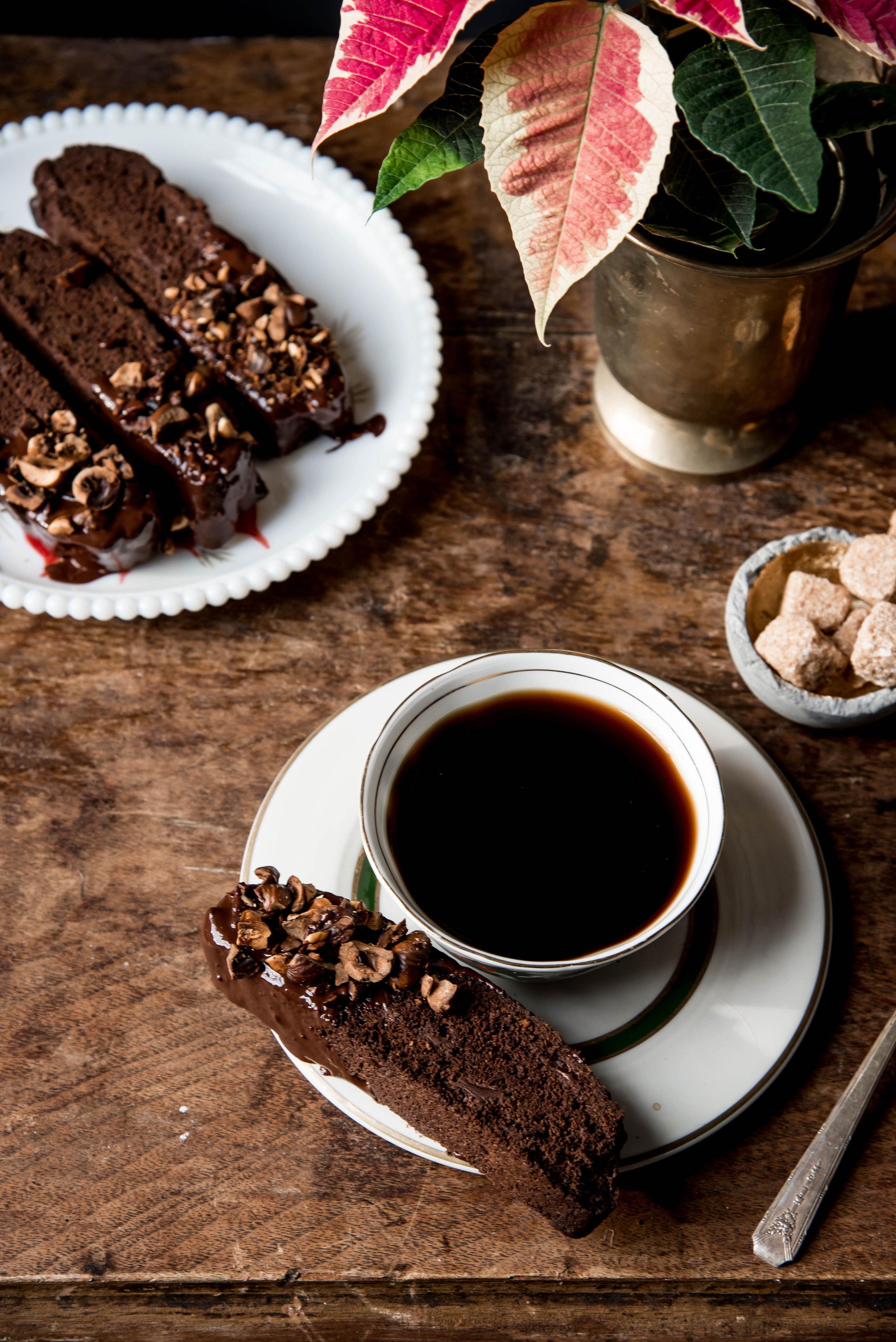 Double Chocolate Biscotti with Hazelnuts -